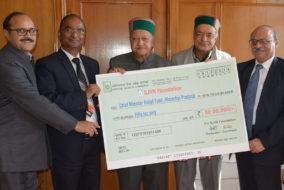 """""""एसजेवीएनएल"""" ने मुख्यमंत्री राहत कोष में दिया 50 लाख रुपये का अंशदान"""