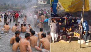 हिमाचल : लोहड़ी व मकर संक्रांति पर हजारों की संख्या में श्रदालु तत्तापानी में स्नान कर करते हैं तुलादान